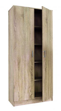 Opbergkast Ray 80cm met 2 deuren en 4 legplanken - sonoma eik