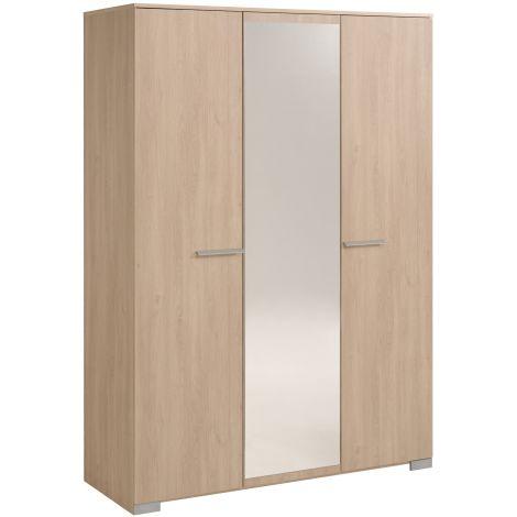 Kledingkast Ekko 140cm met 3 deuren & spiegel - bruin