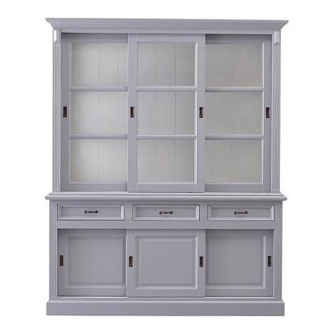 Buffetkast Provence 180 cm met 6 deuren & 3 lades - grijs/wit