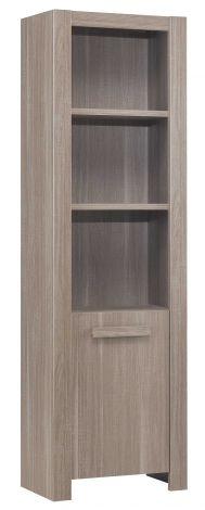 Boekenkast Haron - bruin met open en gesloten gedeelte