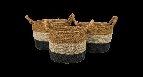 Mandenset - naturel / zwart / goud - raffia / zeegras - set van 3