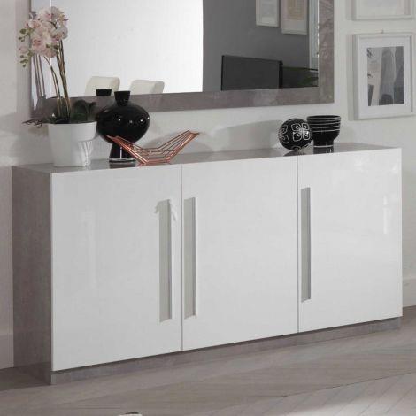 Dressoir Greta 3 deuren - beton/wit
