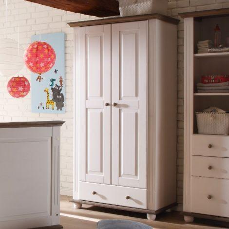 Kledingkast Laurel 96cm met 2 deuren & 1 lade - wit/bruin