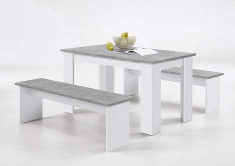 Set eettafel + 2 banken Mundo - beton/wit