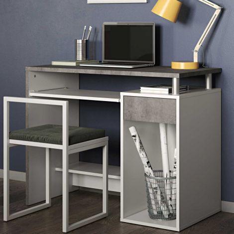 Computertafel Harvard - wit/beton