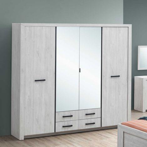 Kledingkast Elvira 218cm 4 deuren & spiegels - witte eik