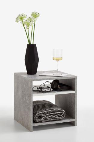 Bijzettafel Linn - beton/wit