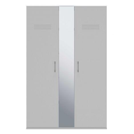 Kledingkast Hugo 130cm met 2 deuren & spiegel - grijs