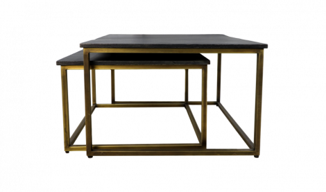 Vierkante salontafel Finnley - 70x70 cm - black wash / antique gold - set van 2