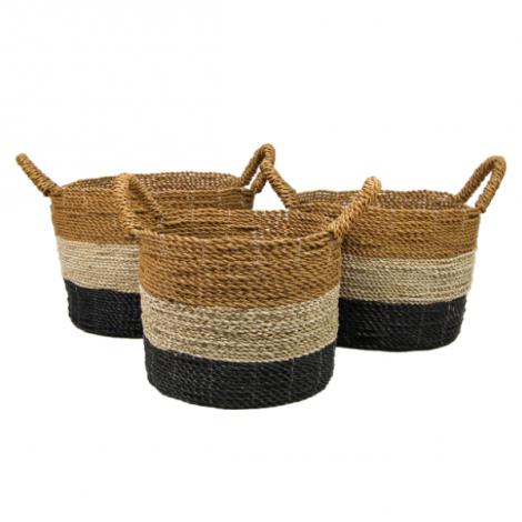 Set van 3 manden Kras - natuur/zwart/goud - raffia/zeegras
