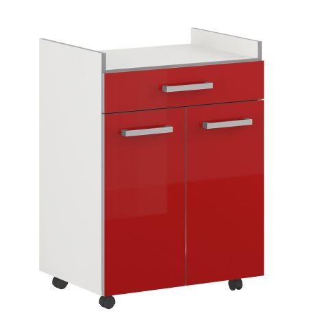 Bijzetkastje Pixel 1 lade & 2 deuren - hoogglans rood