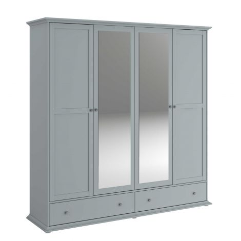 Kledingkast Morgane 4 deuren - grijs
