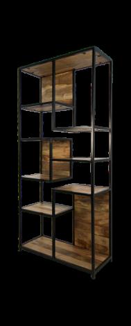 Open vakkenkast Levels - mangohout / ijzer