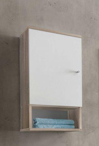 Hangkast Benja 1 deur - wit/eik