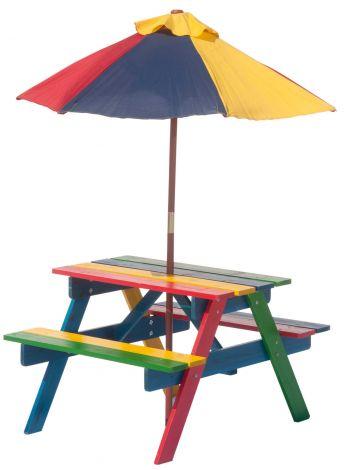 Kinder picknicktafel Rainbow met parasol