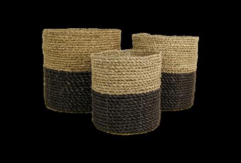 Mandenset - raffia / zeegras - naturel / zwart - set van 3