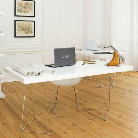 Tafel Multis 160cm - wit/chroom
