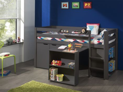 Halfhoogslaper Charlotte met bureau, bibliotheek en commode - taupe