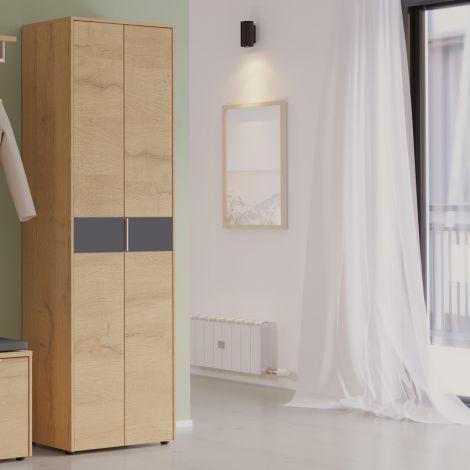 Garderobekast Beck 2 deuren 60 cm - eik/grafiet