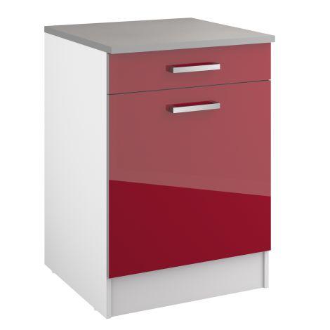 Onderkast Eli 60 cm met lade en deur - rood
