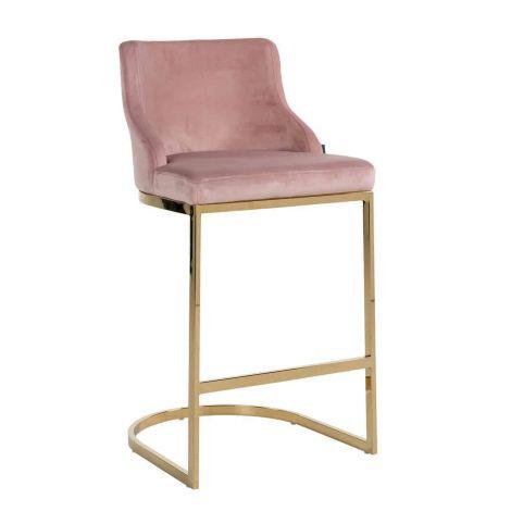 Barstoel Barbosa velours - roze
