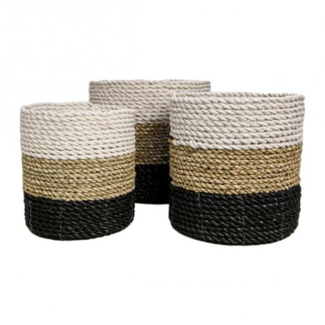 Set van 3 manden Marwa - naturel/zwart/wit - raffia/zeegras