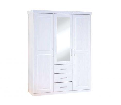 Kledingkast Geraldo 140cm met 3 deuren & spiegel - wit