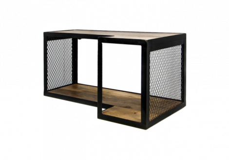 Wandplank Brixton - 60x30 cm - mangohout / ijzer
