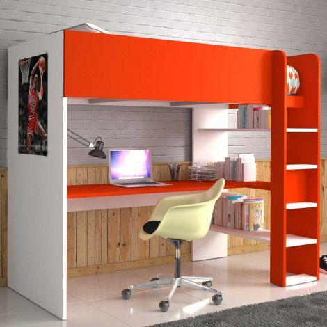 Hoogslaper Beau met bureau - wit/rood