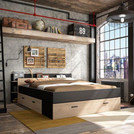 Bed met opbergruimte Eveline 160x200 - zwart/kastanjehout