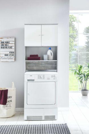 Wasmachinekast Zehra - wit/beton