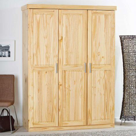 Kledingkast Leon 140cm met 3 deuren - natuur
