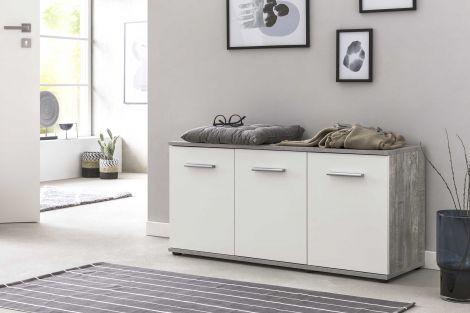 Schoenenkast Dion 3 deuren - wit/beton