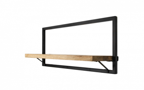 Wandplank Levels 70x32cm – mangohout/ijzer