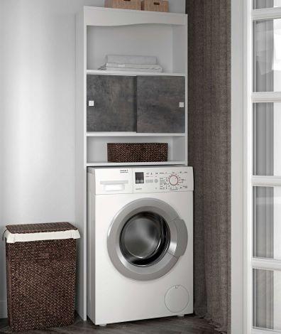 Kast voor wasmachine/toilet Splash - wit/beton