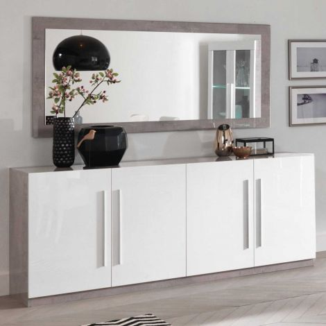Dressoir Greta 4 deuren - beton/wit