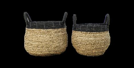 Mandenset - naturel / zwart - raffia - set van 2
