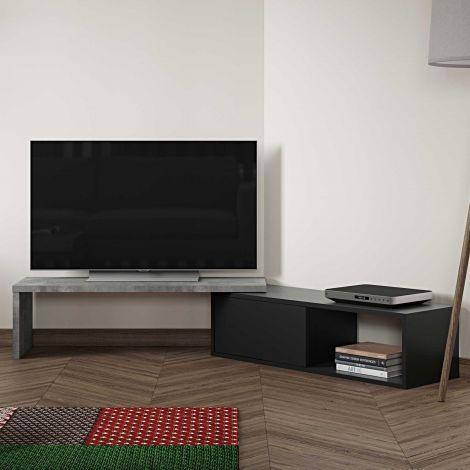 Tv-meubel Movie 110cm - beton/zwart