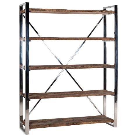 Boekenkast Kensington 140cm 5 legplanken - bruin/zilver