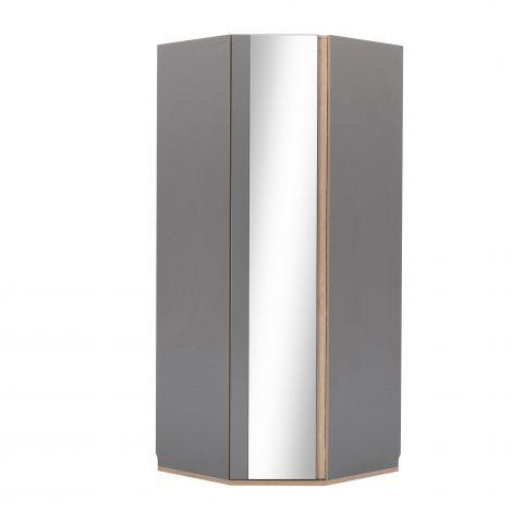 Hoekkledingkast met spiegeldeur Birger - grijs