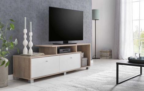 Tv-meubel Marly 140cm - wit/eik