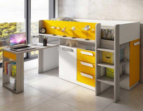 Halfhoogslaper met bureau Beau - geel