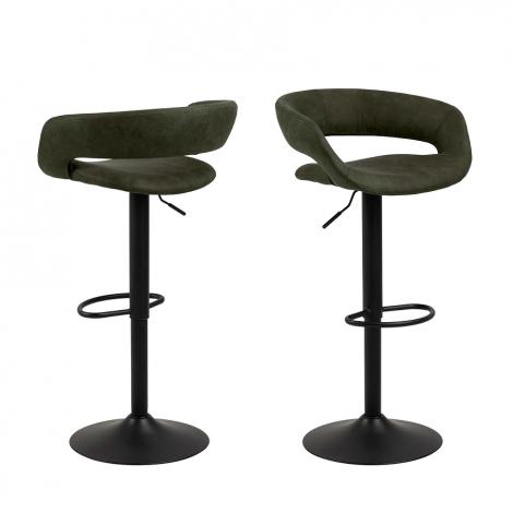 Set van 2 barstoelen Dusty - olijfgroen/zwart