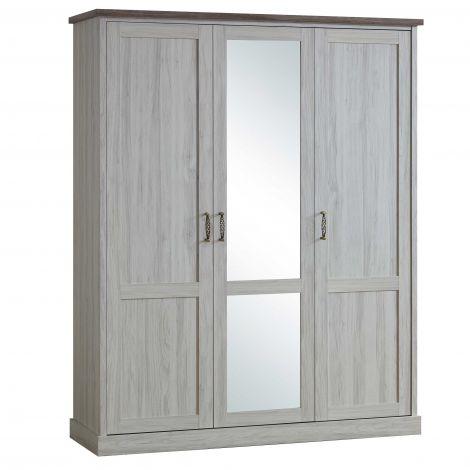 Kledingkast Emily 172cm met 3 deuren & spiegel - grijs
