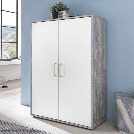 Kast Maxi-office 2 deuren - beton/wit
