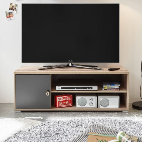Tv-meubel Moleskin 120cm met 1 deur - antraciet/old style