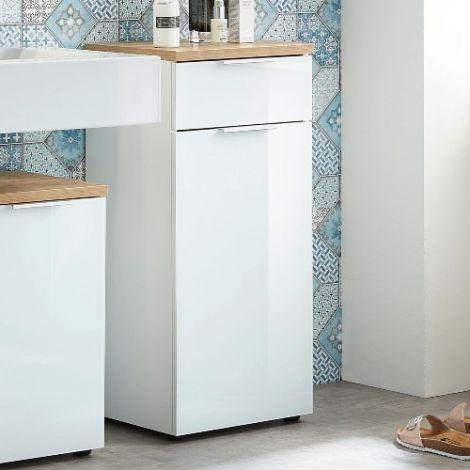Badkamerkast Sepp met 1 deur &  1 lade - wit/eik