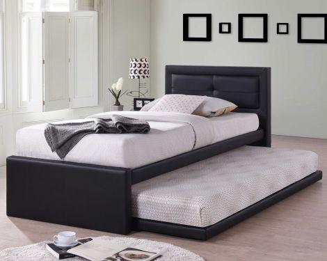 Zwart Eenpersoonsbed Rodan met logeerbed - kunstleer bed