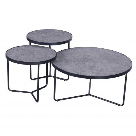 Set van 3 salontafels Simon industrieel - grijs