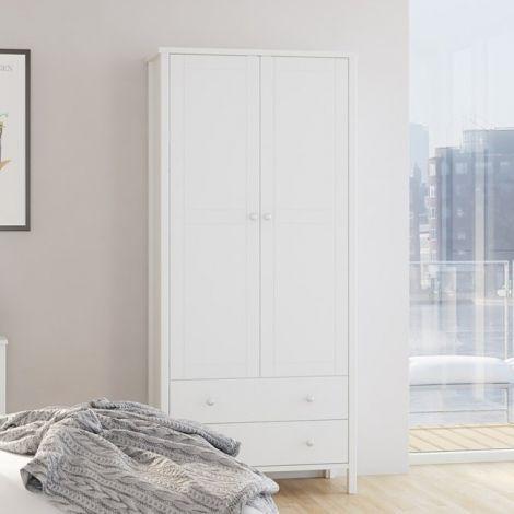 Kledingkast Tarik 89cm landelijk met 2 deuren en 2 lades - wit